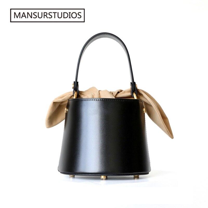 2019 MANSURSTUDIOS véritable seau en cuir sac femmes sac à bandoulière cuir véritable, dame en cuir croix sac, freeshiping