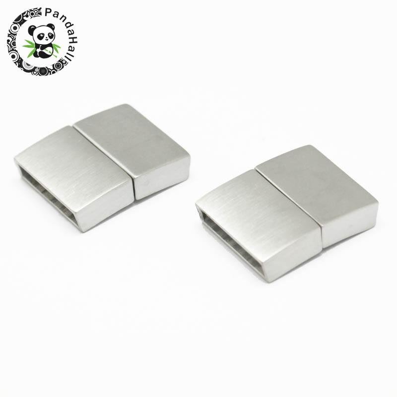 304 Stainless Steel Magnetic Clasps Rectangle Stainless Steel Color 21x16 5x4 5mm Hole 2 5x15mm