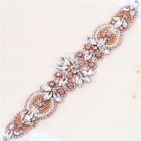 1 pcs- Wholesale Handmade Hot Fix Sew On Beaded Stones and Crystal Rose Gold Bridal Applique for Wedding Sash Headbands 3 colors