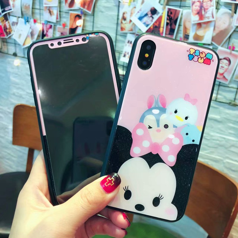 Minnie mouse screen cover tempered glass protect film+hard glass phone case for iPhone 6/6S/6plus/7/7plus/8/8plus/X.