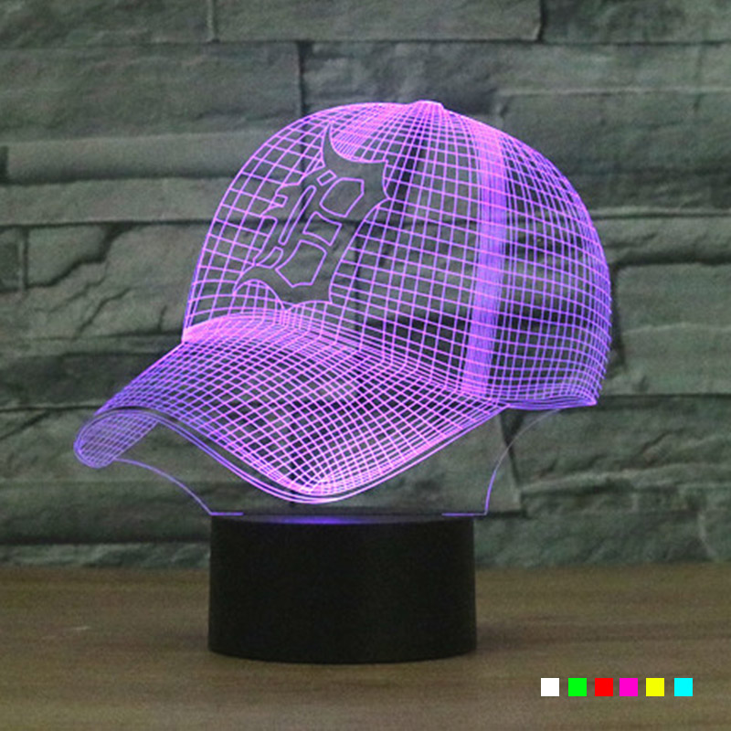 NFL Detroit Tigers 3D LED Lamp Football Helmet Night Light Touch 7 Colors Changing USB Table Desk Decoration Children Nightlight