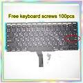 "Nova marca Pequeno Digite RS teclado Russo + Backlight + 100 pcs parafusos do teclado Para MacBook Air 11.6 ""A1370 A1465 2011-15Year"