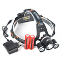 3 LED Headlight 6000 Lumens XM-L L2 Head Lamp High Power LED Headlamp linterna cabeza +Rechargable 18650 battery Charger