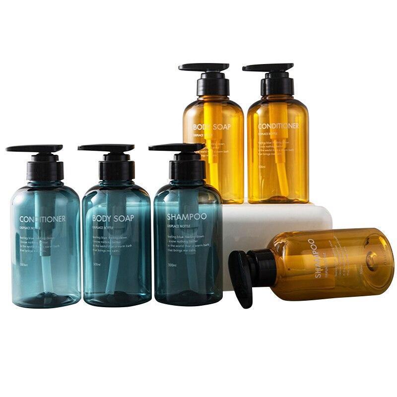 3 adet/takım sabunluk şişe banyo şampuan şişesi büyük kapasiteli basın tipi losyonu vücut sabunu boş şişe seti 300ML/500ML