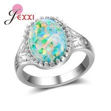 d8a7b5221a57 JEXXI nueva llegada AAA gran Color ópalo 925 Plata de Ley hueco patrón  anillo para mujer joyería de fiesta femenina al por mayor