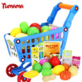 Tumama Supermarket Shopping Cart toys for children Food Kitchen baby Plastic Toys Hobbies toys kitchen for kids toys vegetables