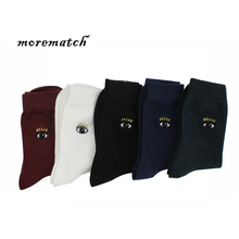 Morematch Men Sock High Quality Breathable Cotton Casual Slipper Socks Harajuku Eye Embroidery Autumn Winter 5 Color