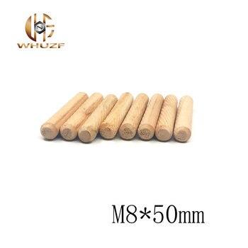 50 Uds M8 * 50 pasadores de madera M8X50 sarga gabinete redondo de madera dura cajón acanalado barras de artesanía herraje para muebles de diámetro