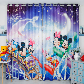 Custom Window Curtains for Living Room Bedroom Nursery Kid Children Room Window Tulle Sheer Drapes Donald Dolphin Mouse