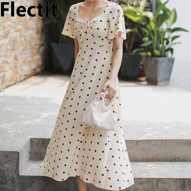 a96125f773b Detail Feedback Questions about Flectit French Style Vintage 80s Polka Dot  Long Dress Women Front Ruched Short Sleeve Mid Length Dress on  Aliexpress.com ...