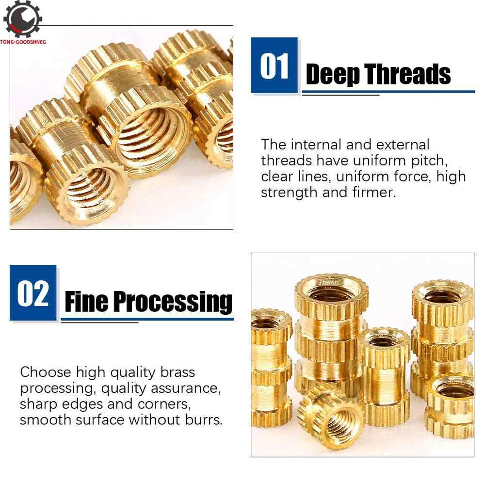 MroMax Knurled Insert Nuts M3 x 10mm L x4mm OD Female Thread Brass Embedment Assortment Kit 100PCS