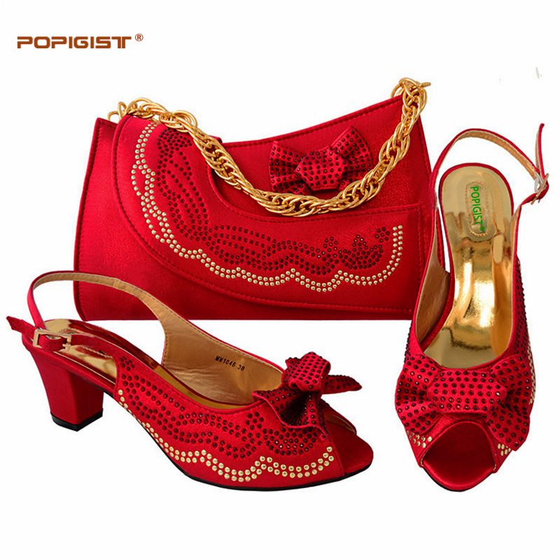Red Wedding Matching Shoes and Bag Set High Heels Italian Ladies Shoes and Bag Set Decorated