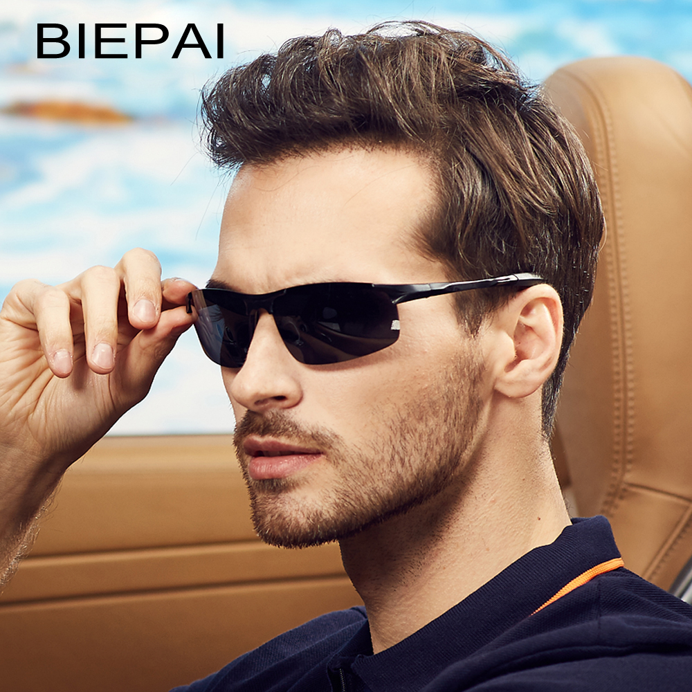 BIEPAI Men Vintage Aluminum HD Polarized Sunglasses Classic Brand Sun glasses Coating Lens Driving Shades For Men UV400 Oculos