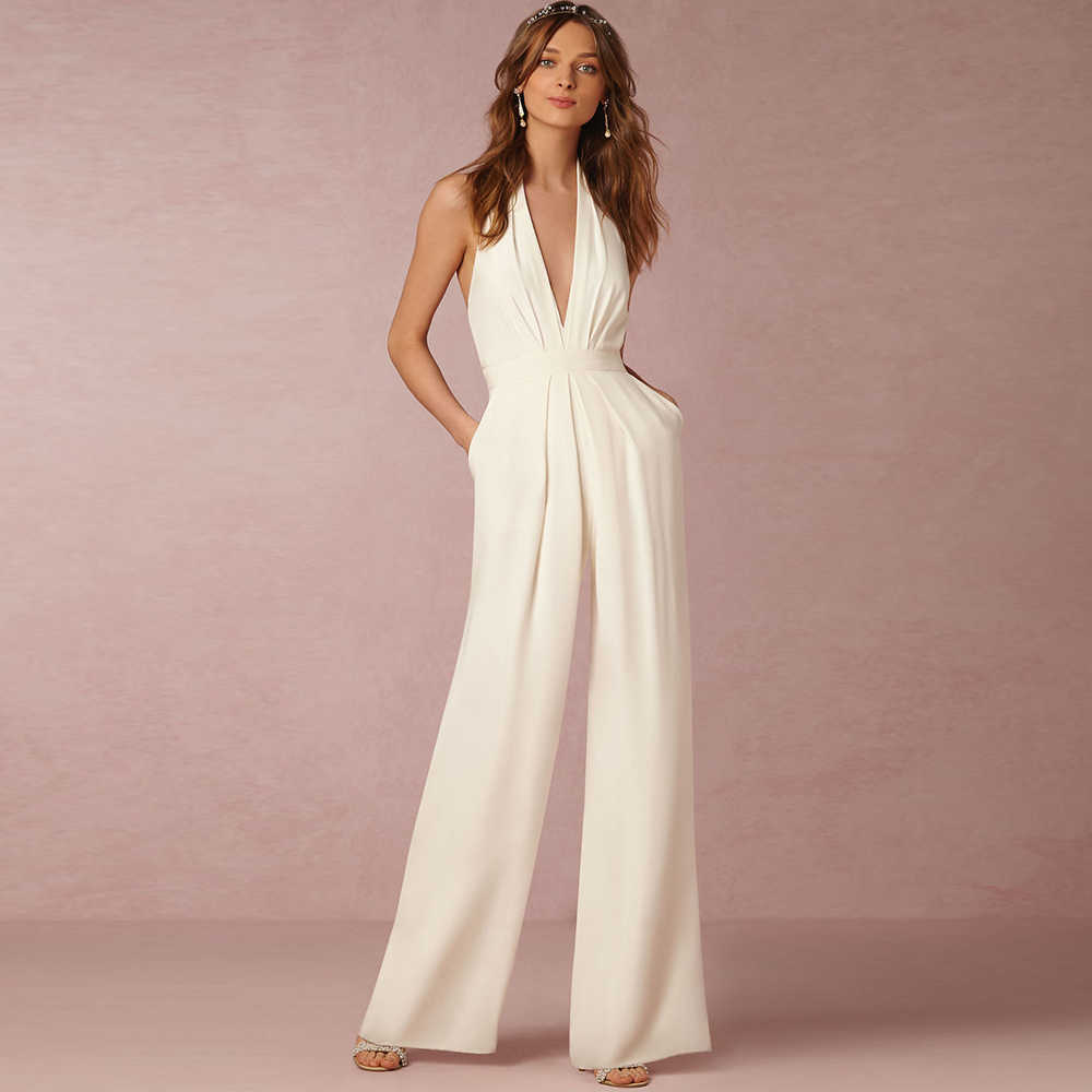 3e4b2906731c Dower Me Sexy Halter Neck White Jumpsuits Pockets Backless Long Elegant Rompers  Wedding Party Women s Black