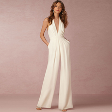Dower Me Sexy Halter Neck White Jumpsuits Pockets Backless L