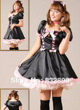 Hot Sale Cheap Black and Pink Short Sleeves Lace Satin Lolita Dress