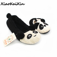 XiaoKaiXin Mother And Children Exclusive Home Shoes For Women Winter Warm Plush Knit Material Animal Panda