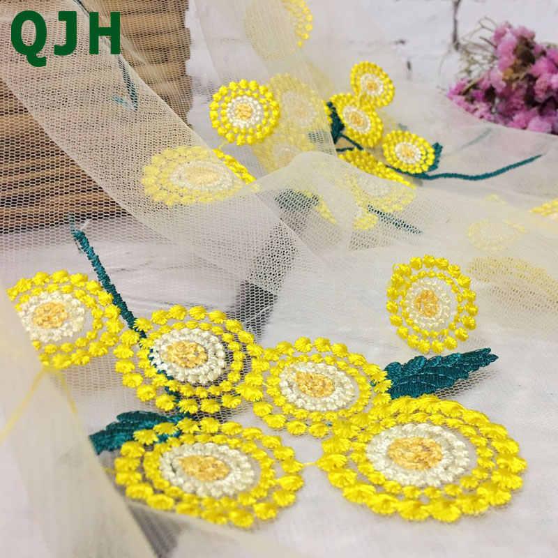QJH marka yeni varış afrika Net dantel kumaş yüksek kalite şeffaf sarı çiçekler nakış fransız kumaş elbise için