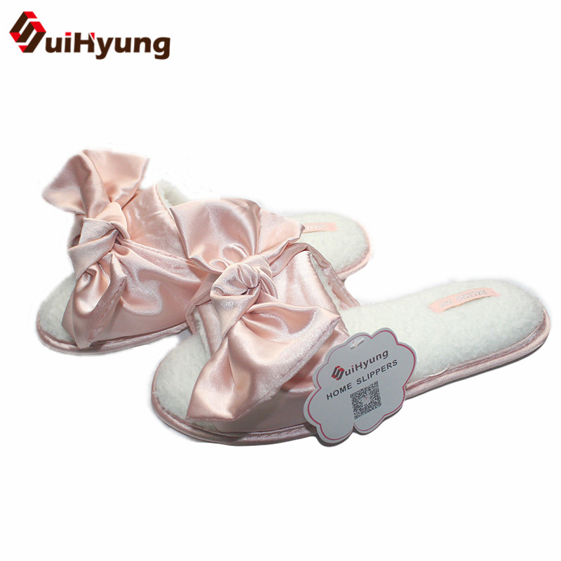 Suihyung New Women Winter Plush Home Slippers Big Bowknot Non-slip House Bedroom Floor Slippers Female Flat Slipper Indoor Shoes plush home slippers women winter indoor shoes couple slippers men waterproof home interior non slip warmth month pu leather