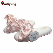 Suihyung New Women Winter Plush Home Slippers Big Bowknot Non-slip House Bedroom Floor Slippers Female Flat Slipper Indoor Shoes