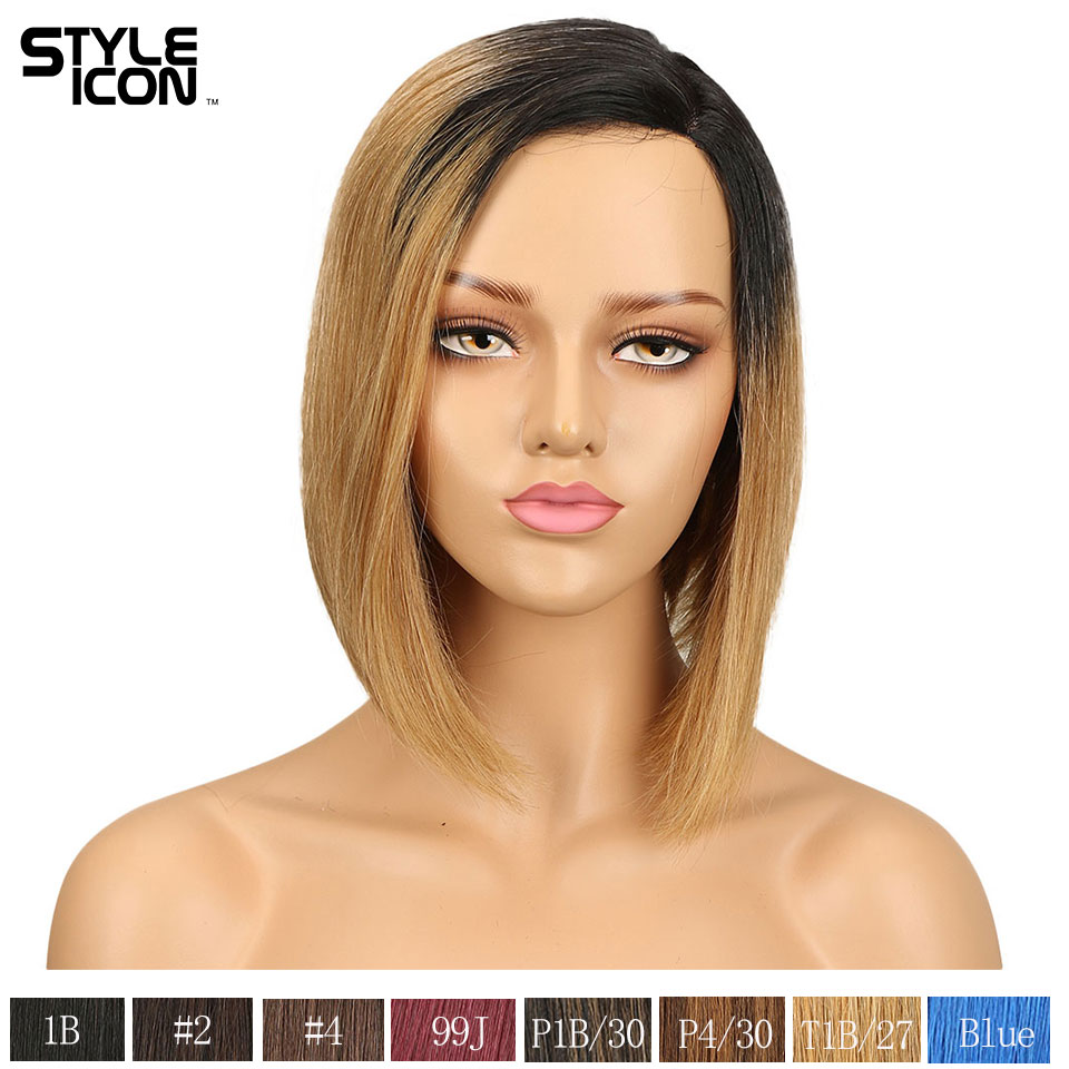 Styleicon perruques de cheveux humains droites 100% perruque de cheveux courts de cheveux humains 150% densité u-part perruque de cheveux de dentelle malaisienne 7 couleur disponible