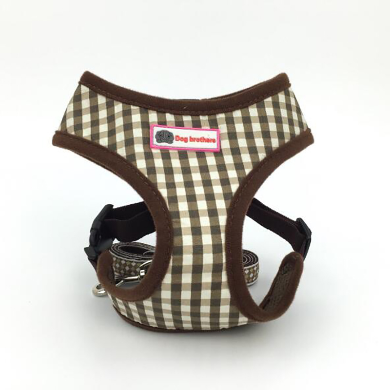 2018 Summer Polyester Small Dog Cat Harness Vest Breathable Soft Lattice Pet Walking With Leash Protect