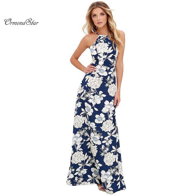 b86c3c3f383 New Sexy Women Maxi Boho Dress Halter Neck Floral Print Sleeveless Summer  Dress Holiday Long Beach Dress Vestidos Party Dresses