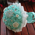 24cm sky blue wedding bouquets ramo de novia bouquet fleur mariage bruidsboeket bouquet sposa cristallo Brooch Flowers