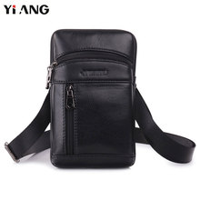 YIANG Genuine Leather Messenger Bags Men's Small Cross Body Shoulder Bag Travel Style Waist Belt Bags for Man Waist Pack black