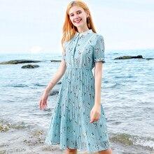 Summer Party Dress Floral Print Pleated Chiffon Dress Women Lace Turn-down Collar Short Sleeves Short Lady Elegant Sundress