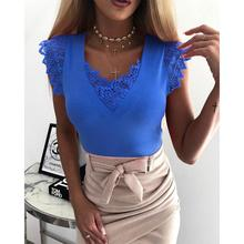 2019 New Yfashion Women Sexy V-neck Short Sleeved Lace-up Slim-fit Tops