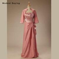 Dusty Rose A Linha elegante Frisada Mãe dos Vestidos de Noiva 2017 com Mangas 3/4 Casacos Casaco Longo Formal Prom Vestidos BM272