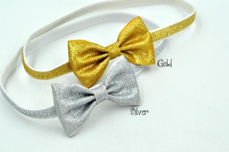 30pcs/lot  2.5INCH Glitter Bow Headband Gold Silver Glitter Headbands  Baby Headband Baby Girl Hair Accessories
