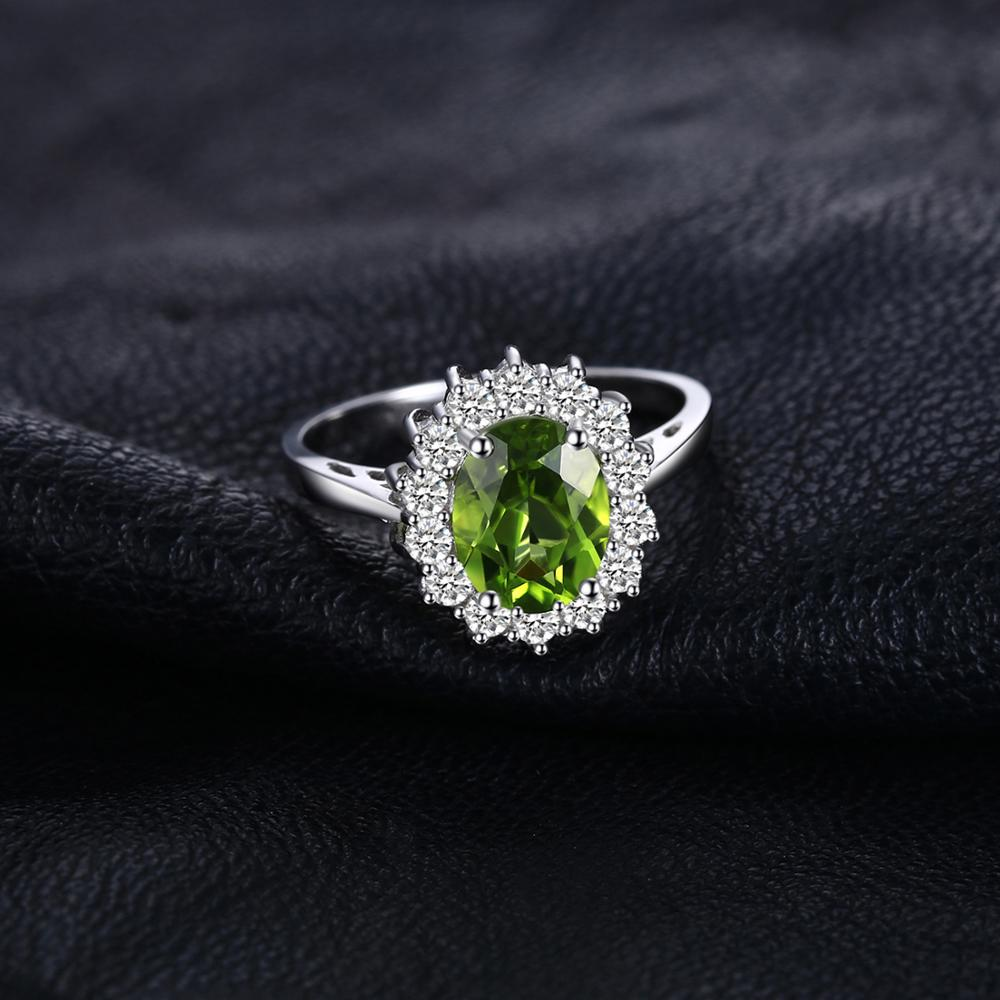 Image 3 - JewPalace Princess Diana Genuine Peridot Ring 925 Sterling Silver
