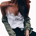 Sexy White Lace Sheer Mulheres V pescoço Cinta Faux Seda deslizamento Tanque Camis Top mono corto mujer femme feminino Tee