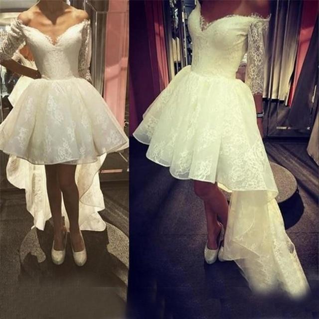 Short Brautkleid 2017 Sexy Elfenbein Spitze Eine Linie Hallo Lo Off ...