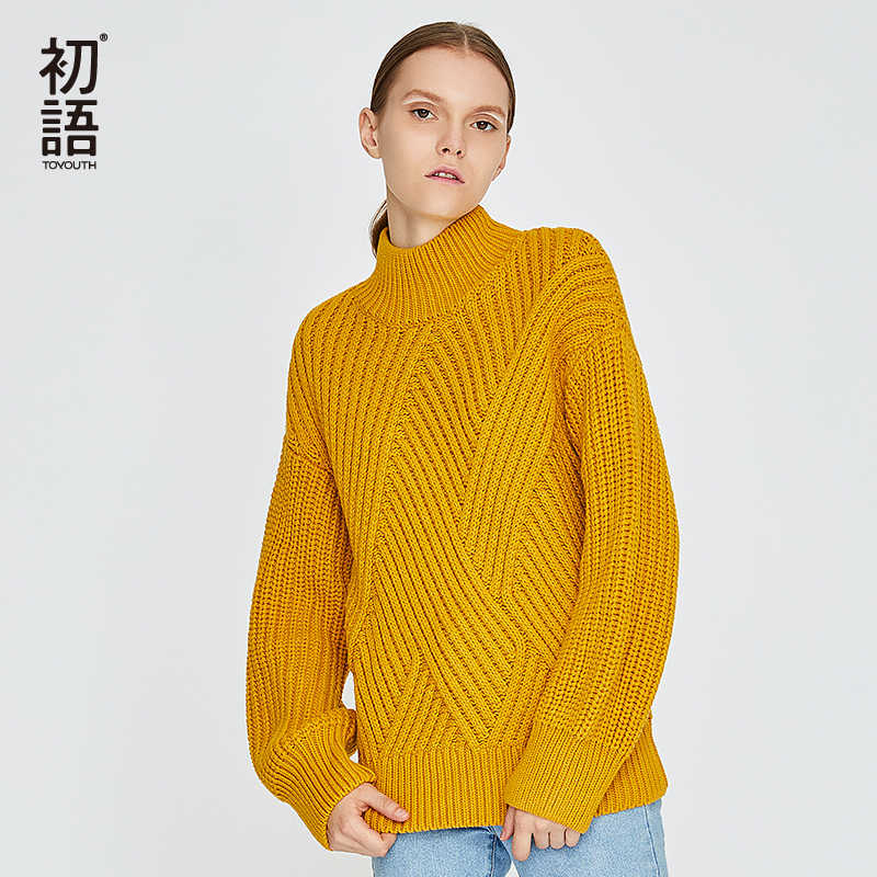 Toyouth Turtleneck Women Solid Sweater Oversized Long Sleeve Twisted Pullovers Winter Sweaters Casual Jumpers Sueter Mujer