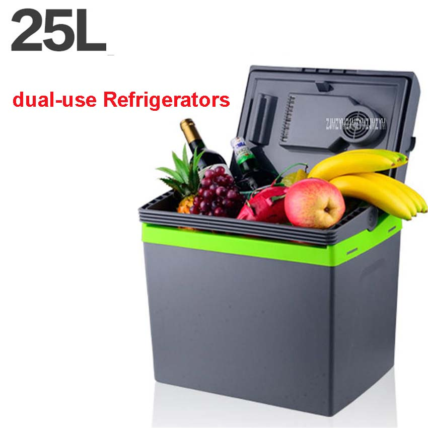 25L Car Home Portable Thermoelectric Fridge 12V/ 220V Cooler Box Warmer Dual Purpose High Capacity Travel Refrigerator 48-55W smad dc12v 4l abs mini car cooler warmer thermoelectric car truck refrigerator fridge beer soda 6 can fishong camper