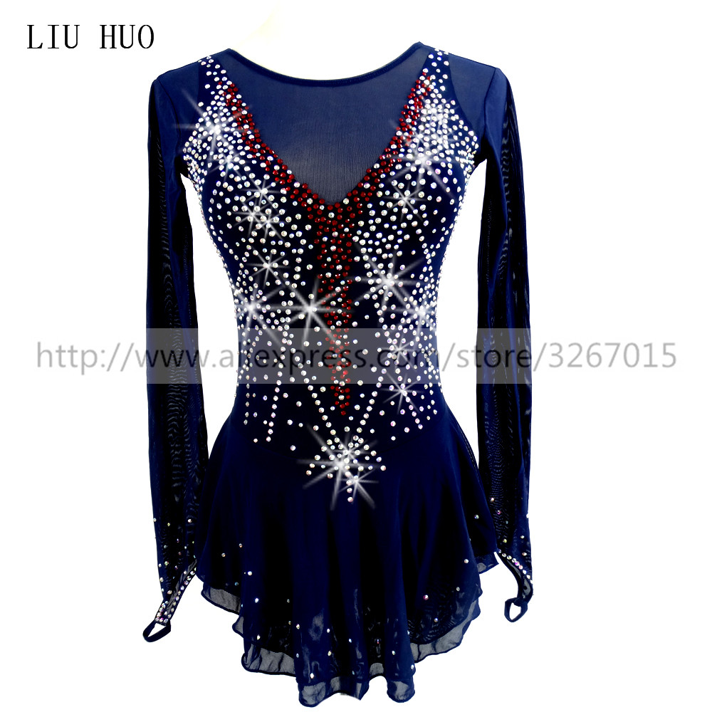 Competition Figure Skating Dress Women's Girls' Ice Skating Dress Roller Skating Round Neck Long Sleeve Dark Blue Adults Kids