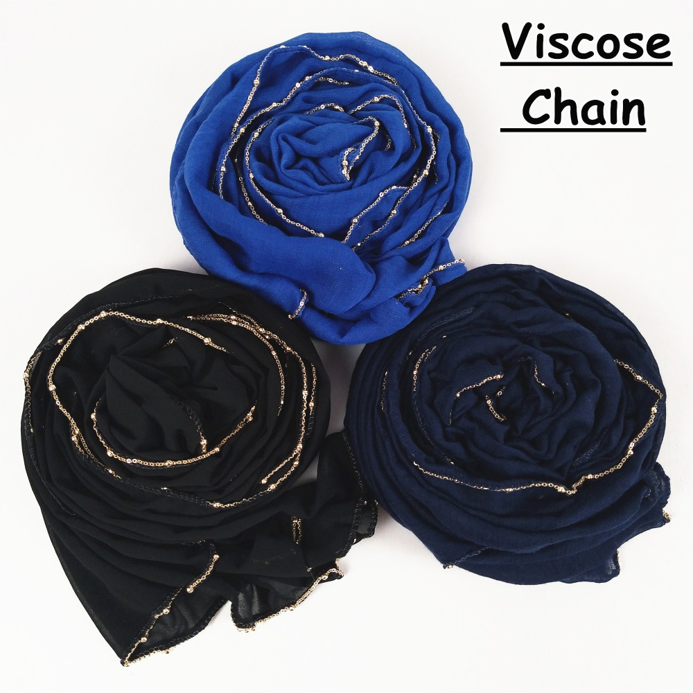 C1 High quality chain visose hijab   scarf   shawl   wrap   muslim headband viscose women   scarves   10pcs/lot