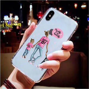 Image 3 - Cute Baby Child Mother TPU Phone Case For iPhone X XS Max XR 11 Pro 7 8 6 6S Plus 5 5S SE 2020 Queen Girl Silicon Clear Cover