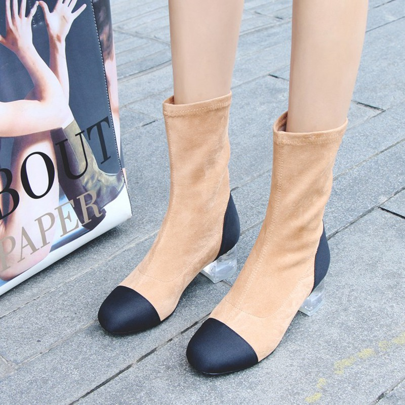 Gray Lisa Botas Mediados Zapatos Corto Geniune Ante 2018 Transparente Yellow Leather Bajo Señoras Mujer Tacón Con Las Orcha De C892 suade Black suade Cuero Pantorrilla vnqdSxFvw