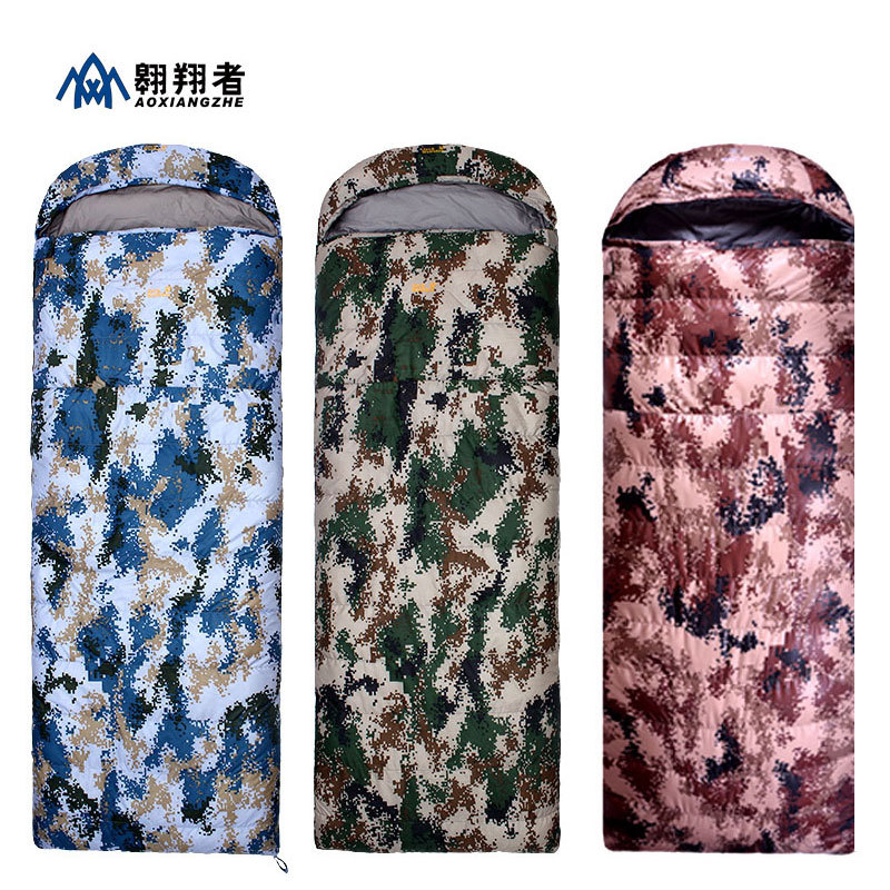 Outdoor Single Person Sleeping Bag Three-color Digital Camouflage Down Camping Bag Envelope Type Alpine Warm Sleeping BagOutdoor Single Person Sleeping Bag Three-color Digital Camouflage Down Camping Bag Envelope Type Alpine Warm Sleeping Bag