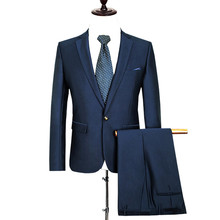 (Jackets+Pants ) Men Solid Color Business Cotton Dress Suit Formal Slim Fit Casual Wool Suits Wedding Party Blazer SL-E541-542
