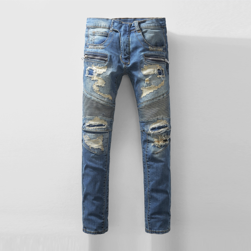 New Fashion Distressed Washed Jeans Men Straight Denim Trousers Full Length Runway Biker Skinny Slim Cowboy Brand Men's Pants 2017 fashion patch jeans men slim straight denim jeans ripped trousers new famous brand biker jeans logo mens zipper jeans 604