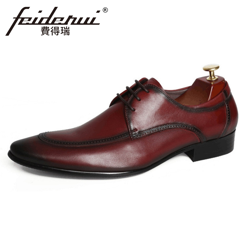 New Arrival Handmade Pointed Toe Derby Men's Office Footwear Vintage Genuine Leather Man Formal Dress Wedding Party Shoes YMX467 plus size new arrival men s formal dress office footwear genuine leather round toe lace up man derby wedding party shoes ymx410