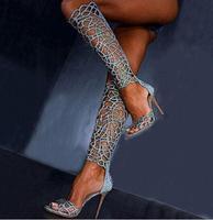 2017 New Design Summer Women Boots Cut Outs Open Toe Knee High Stiletto Heel Laser Cut Gladiator Woman Summer Boots Free Ship