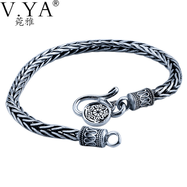 VYA Стерлингового Серебра 925 Yi Гу Цепи Веревки Браслет 100% Настоящее S925 Чистого Серебра Браслеты для Мужчин Ювелирные Изделия HYB02