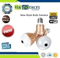 1080P HD 2MP Panoramic Bulb Infrared and White Light Wireless IP Camera Wi FI FishEye Mini Lamp Wifi P2P Cam CCTV Home Security