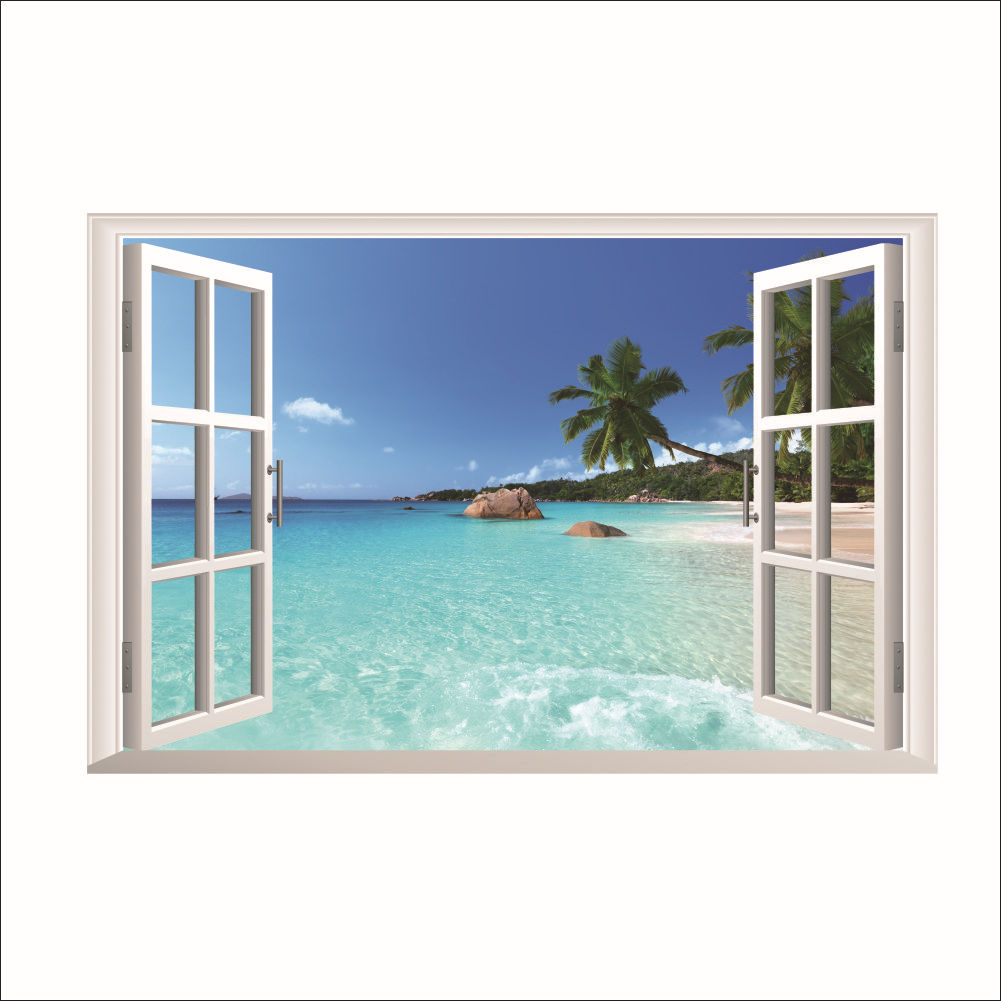 Aliexpress com buy free ship 3d virtual window diy wall sticker modern vinyl wall stickers bedroom living room home decoration cafe 60x90cm from reliable